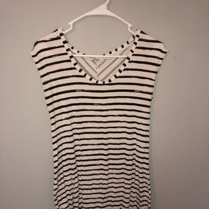 White and black striped dress